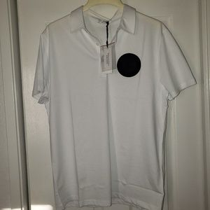 NWT - Versace Polo Shirt sz L White w/ Black Logo